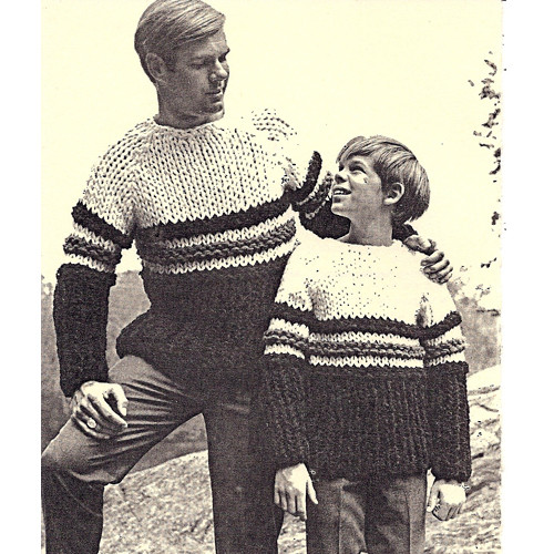 Father Son Big Needle Hockey Sweater Pattern