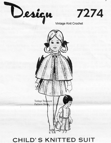 Girls Knitted Cape Pattern, Cable Stitch, Mail Order Design 7274