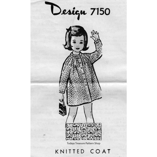 Girls Mail Order Knitted Coat Pattern 7150
