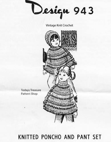 Girls Striped Poncho Knitting Pattern,  Design 932