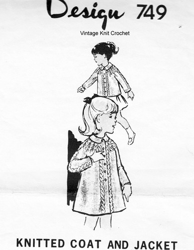 Girls Coat Knitting Pattern, Cables, Mail Order 749