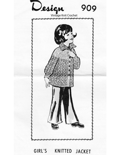 Girls Knitted Cable Jacket Pattern, Laura Wheeler 909