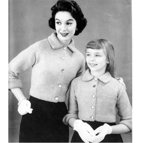 Mother Daughter Cardigan Knitting Pattern Set with Three Quarter Sleeves