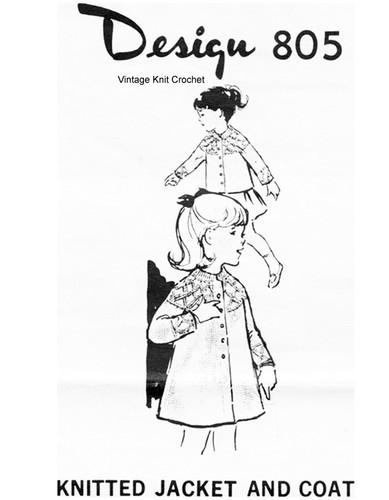 Girls Diamond Knit Coat or Jacket Pattern, Mail Order Design 805