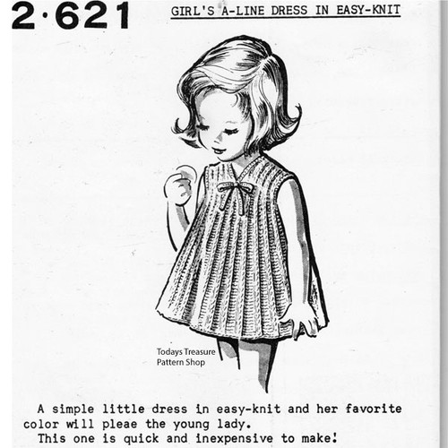Girls A-Line Knitted Dress Pattern