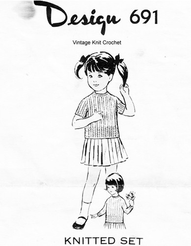 Girls Knitted Poor Boy Top Pattern, Mail Order 691