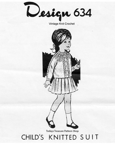 Girls Knitted Cable Jacket Pattern Design 634