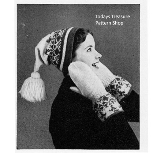 Childs Knitting Pattern Stocking Cap and Mittens
