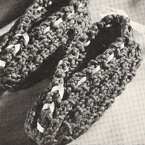 Ribbon Tied Slippers, Girls Knitting pattern
