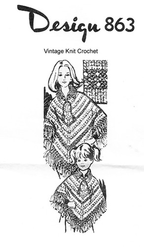 Knitted Poncho Pattern, V-Shaped, Mail Order Design 863