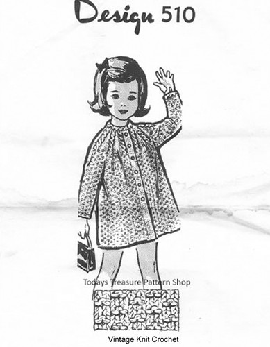 Toddler Knitted Coat Pattern, Cable Yoke, Mail Order Design 510