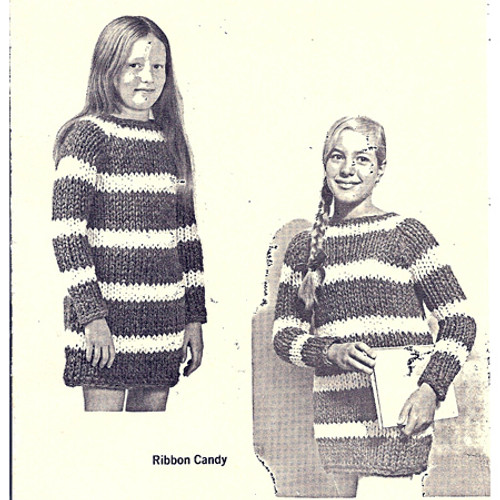 Teen Striped Knitted Dress Pattern on Big Needles