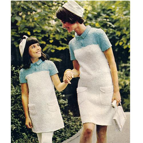 Vintage Knit A-Line Dress Pattern, Mother & Daughter