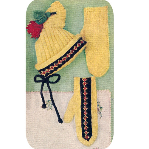 Girls Colorful Stocking Hat Mittens Knitting Pattern