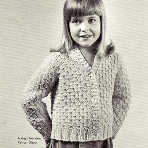 Vintage Girls Easy Knit Cardigan Pattern