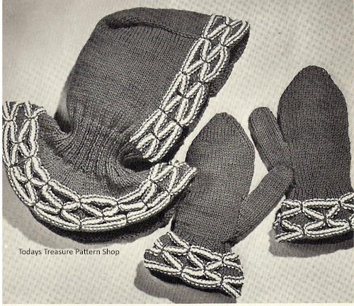 Vintage Knit Smocked Helmet Gloves Pattern