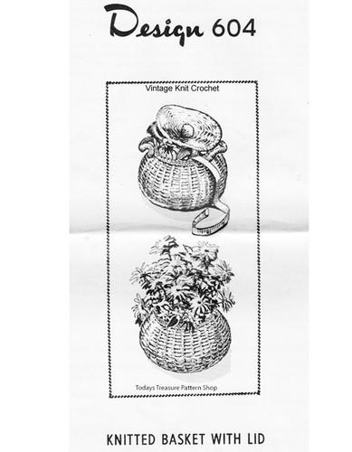 Knitted Basket Pattern, Mail Order Design 604