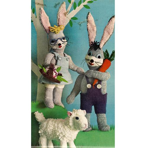 Knitting Pattern Stuffed Bunny Lamb Toy