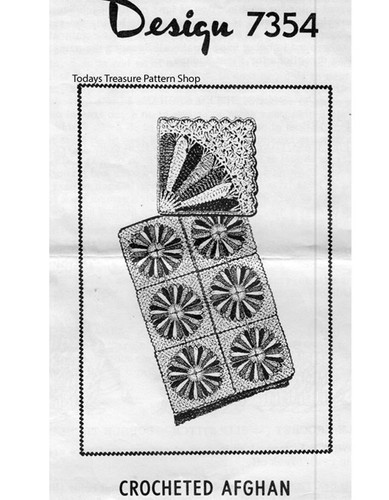 Crochet Circle Afghan Pattern, Mail Order 7354