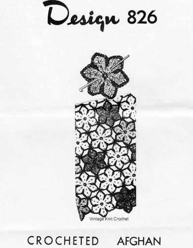 Crochet Afghan Pattern, Flower Medallions,  Mail Order 826