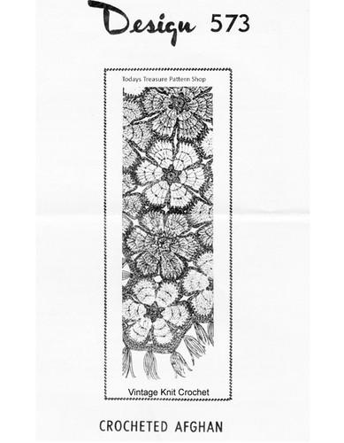 Crochet flower medallions afghan pattern, Mail Order 573