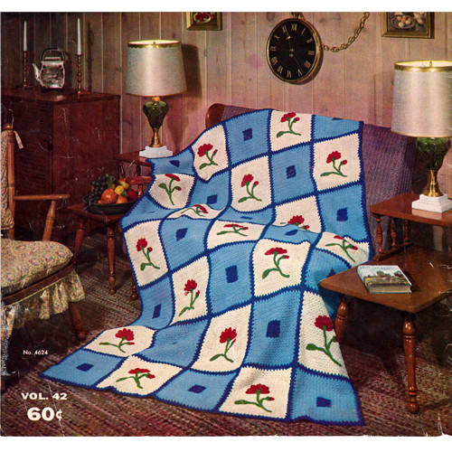 Vintage Carnation Afghan Pattern with Embroidery