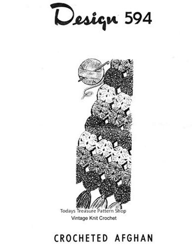 Shell Medallion Crochet Afghan Pattern, Mail Order 594