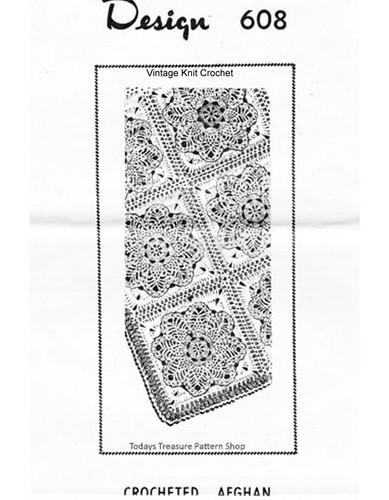 Crochet Pineapple Afghan Pattern, Mail Order 608