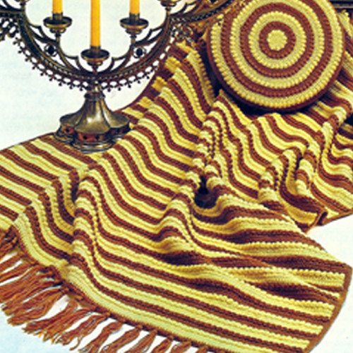 Vintage Striped Crochet Afghan and Pillow Pattern