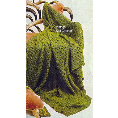 Easy Afghan Knitting Pattern, Vintage 1960s