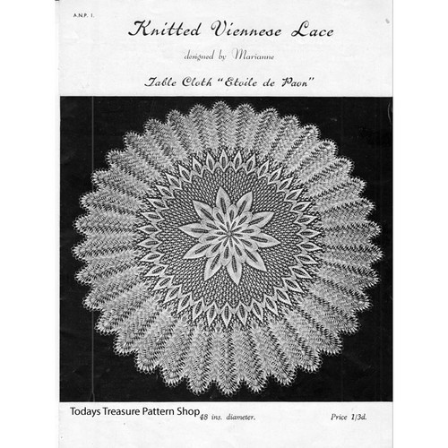 Knitted Round Cloth Doily Pattern in Viennese Lace