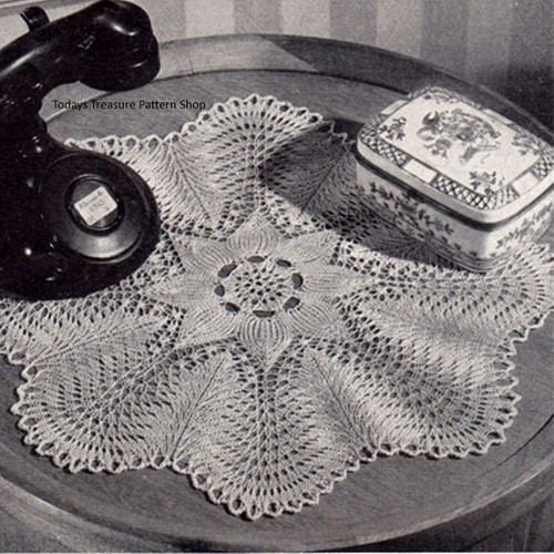 Vintage Knitted Doily with Ruffled Edge