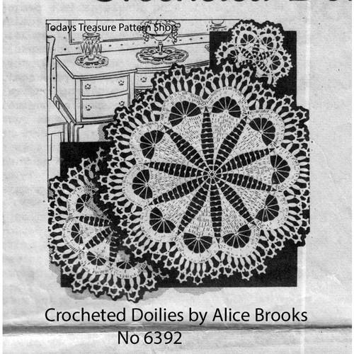 Crocheted Star Shell Doily pattern Alice Brooks 6615