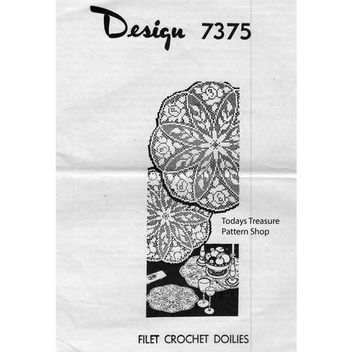 Filet Crochet Rose Doily Pattern Design 7375