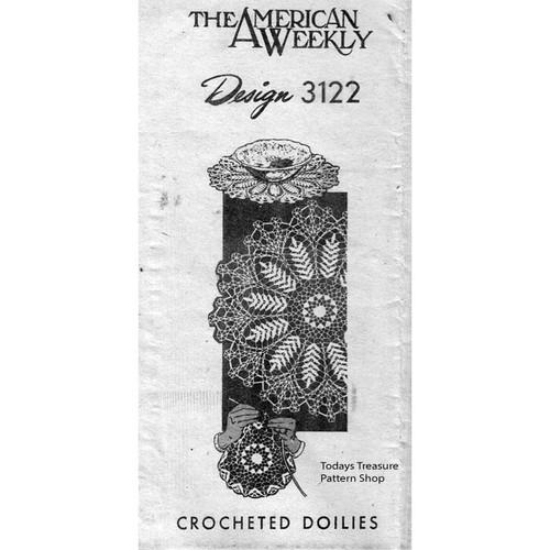 American Weekly 3122 Crochet Fern Doily Pattern
