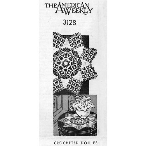 Mail Order 3128 crocheted medallion Doily Pattern