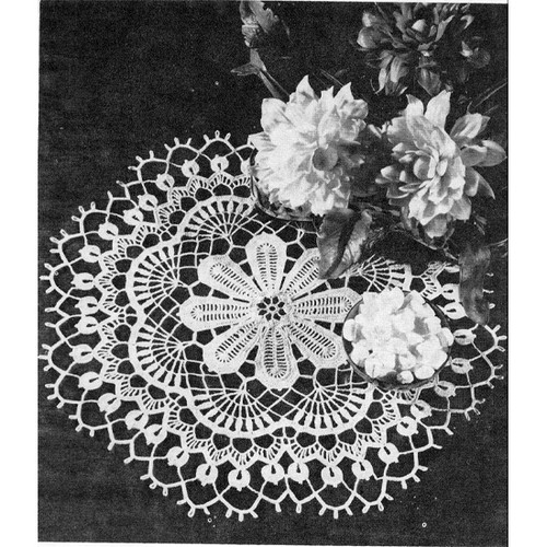 Vintage Dahlia Flower Crochet Doily Pattern