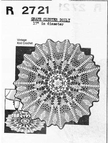Large Grape Doily Crochet Pattern No 2721