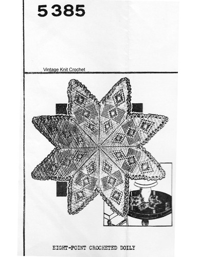 Eight Point Star Crochet Doily Pattern, Mail Order 5385