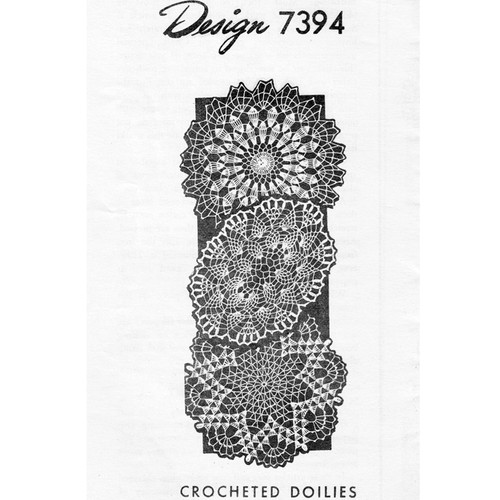 Three Crocheted Doilies Pattern, Design 7394