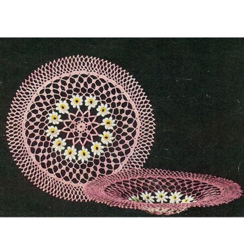 Crochet Doily Bowl Pattern with Daisies