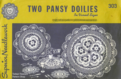 Two Pansy Doilies Crochet Pattern, Homecrafters 303