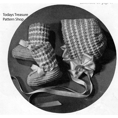 Vintage Crocheted Baby Bonnet Booties Pattern