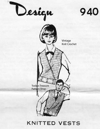 Mans Knitted Vest Pattern, Mail Order Design 940