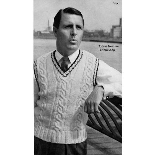 Vintage Knitting Pattern Mans Sleeveless Cable Pullover