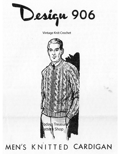 Mens Cable Jacket Knitting Pattern, Laura Wheeler 906