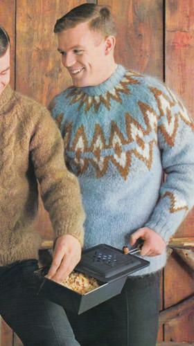 Knitting Pattern, Mans Mohair Ski Sweater Motif