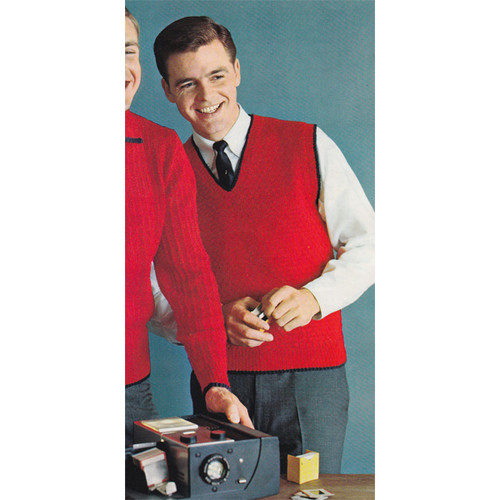Vintage Red Sleeveless Pullover Knitting Pattern