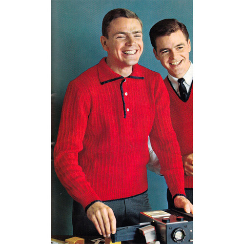 Mans Knit Pullover Shirt Pattern with Small Collar