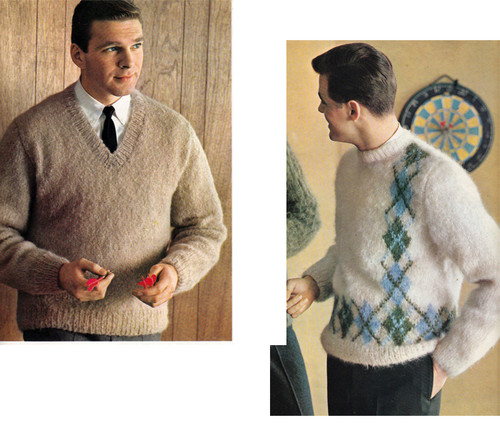 Mans Knitted Pullover Pattern with Round or V-Neck